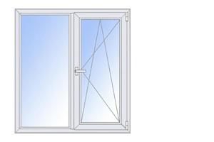 Окно пластиковое ПВХ STURM двухстворчатое с/п 32 2-кам с одной поворотно-откидной створкой AXOR