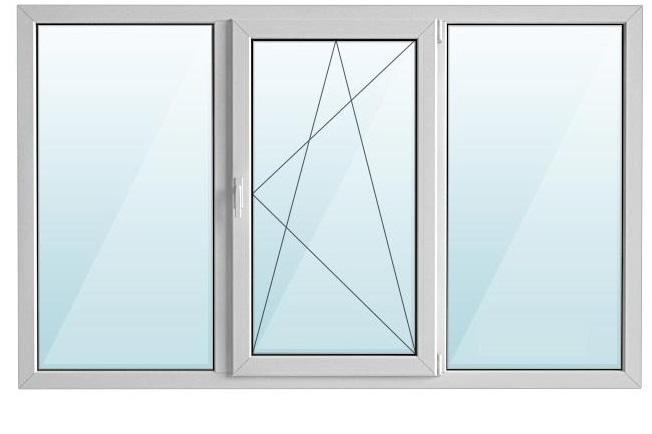 Окно пластиковое ПВХ PROPLEX GOODWIN 70 трехстворчатое с/п 32 2-кам с одной поворотно-откидной створкой AXOR