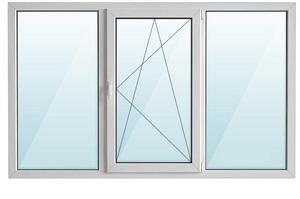 Окно ПВХ трехстворчатое с/п 32 2-кам с одной поворотно-откидной створкой REHAU 3-кам