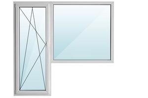 Окно ПВХ балкон угловой с/п 32 2-кам с поворотно-откидной дверью ARTEC