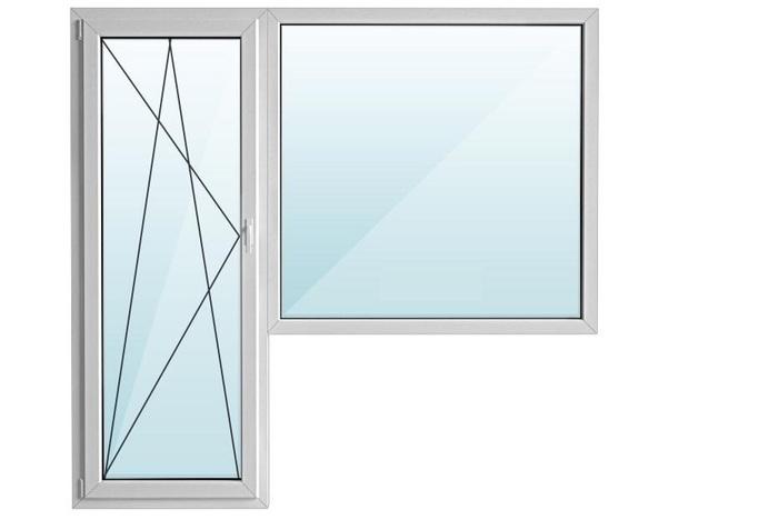 Евроокно REHAU ПВХ балкон угловой с/п 32 2-кам с поворотно-откидной дверью 2-кам GRAZIO 70