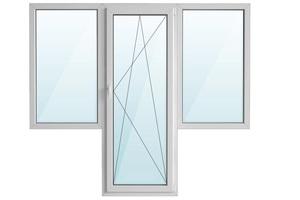 Окно ПВХ балкон бабочка с/п 32 2-кам с поворотно-откидной дверью REHAU 3-кам