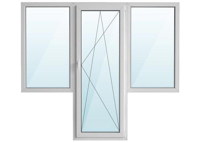 Окно ПВХ балкон бабочка с/п 32 2-кам с поворотно-откидной дверью GRAIN 3-кам